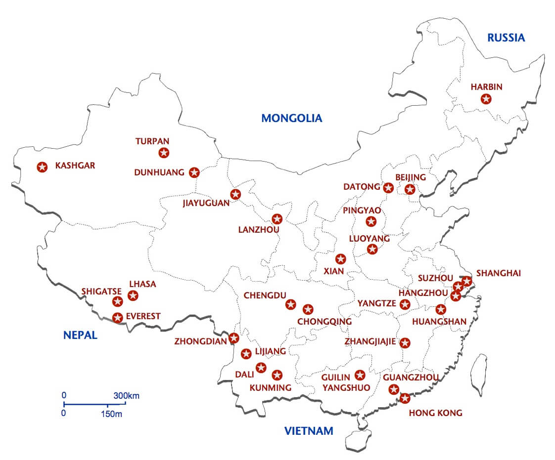 Map of China Por Destinations | TCTC China Map Picture on